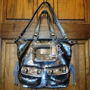 Coach Poppy Large Limited Edition Gray Sequin Glam Satchel Tote Bag 15890
